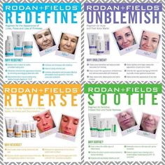 Hello!!! Here are the 4 regimens that Rodan + Fields offers! They are all four wonderful regimens but for different concerns. Visit my website (listed below) and complete the Solution Tool to see which is RIGHT for you!     https://mklecroy.myrandf.com/Pages/OurProducts/GetAdvice/SolutionsTool