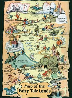 Map of the Fairy Tale Lands Walt Kelly The Toon Treasury of Classic Children& Comics Narnia, Fairy Land, Fairy Tales, Grimm, Traditional Tales, Fantasy Map, Book Week, Plans, Book Worms