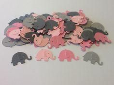 Elephant Confetti - Set of 100, Light Pink, Dark Pink, Light Grey, Dark Grey, Birthday Party, Baby Shower. $3.00, via Etsy.