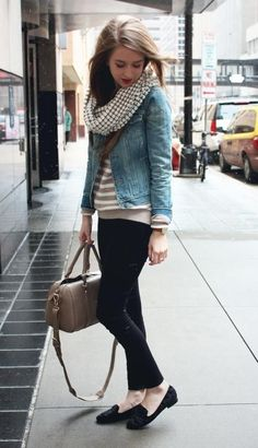 black skinnies, striped sweater and denim jacket and houndstooth scarf. Perfect winter travel outfit.