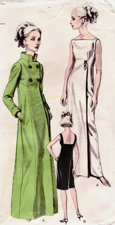 1960s ELEGANT EVENING GOWN, COAT PATTERN BEAUTIFUL DESIGN VOGUE SPECIAL DESIGN 6368