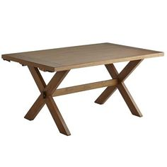 How many people can break bread at this trestle table? How many people do you know? Drop in Nolan's two breadboard leaves, each measuring 16 inches, and you can accommodate 10 or more along the 96-inch plank top. Crafted of hardwoods and defined by rustic details—including X-shaped supports, a java stain and a warm lacquered finish—this is, quite literally, a crowd-pleaser.