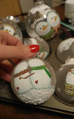 what to do with leftover paint painted ornaments, christmas decorations, seasonal holiday decor, Snow on the bottom Upcycle that rusty muffin pan with these 31 spectacular inspiratiosn! Christmas Ornament Crafts, Diy Christmas Gifts, Christmas Art, Christmas Projects, Holiday Crafts, Christmas Holidays, Christmas Bulbs, Christmas Decorations, Half Christmas