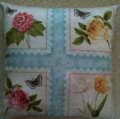 Botanical Flowers And Butterfly Fabric Lavender Cushion - Handmade
