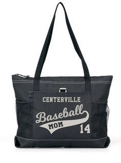 Sports Mom Tote with zipper main compartment, outside pocket and two mesh water bottle holders. Bag is 20in wide, 14in tall and 4in thick. Our glitter designs are the finest design method available. Your Team or Town or School, Your Players Number and in the tail you may put Mom, a