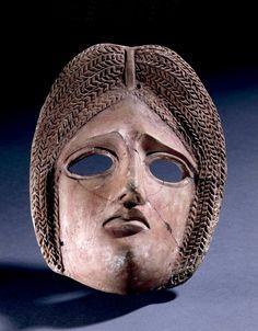 Terracotta tragic mask.  Roman; 1stC-2ndC; Rome   British Museum