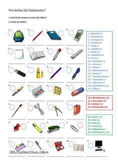Wie heißen die Schulsachen?