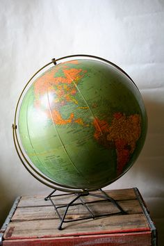 Antique Replogle Library Globe 1950s Old School Earth World Large $100