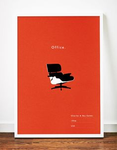 Eames Office poster Mid Century Modern art print lounge chair  illustration Retro