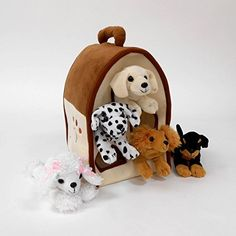 Plush Dog House Five 5 Stuffed Animal Dogs Dalmation Yellow Lab Rottweiler Poodle Cocker Spaniel in Play Dog House Carrying House * Visit the image link more details.