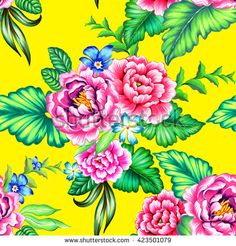 Colorful Mexican floral pattern with beautiful folk flowers, great details and…