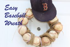 Make this easy baseball wreath. All it takes is a little (a lot ) of glue, a wire wreath form, and baseballs. No drilling! Softball Wreath, Baseball Wreaths, Baseball Crafts, Sports Wreaths, Baseball Boys, Creative Crafts, Easy Crafts, Easy Diy, Crafts For Kids