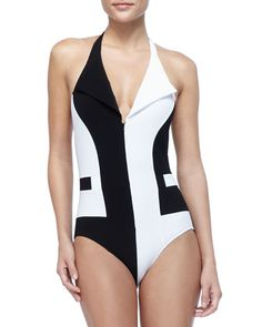 Front-Zip Two-Tone One-Piece by Karla Colletto at Neiman Marcus.