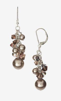 Kazia Digo Bronze Pearl & Crystal Drop Earrings