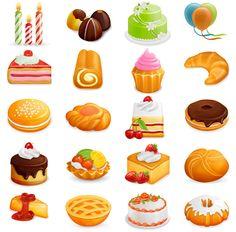 yummy free sweet food icons set