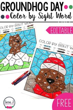 Grab these FREE color by sight word coloring pages now! They are editable so you can type in any sight words or spelling words you want your students to practice. Perfect activity to practice kindergarten, first grade or second grade sight words. Kindergarten Groundhog Day, Groundhog Day Activities, Kindergarten Lessons, Kindergarten Classroom, Christmas Activities, Classroom Freebies, Syllables Kindergarten, Classroom Ideas, Sight Word Activities