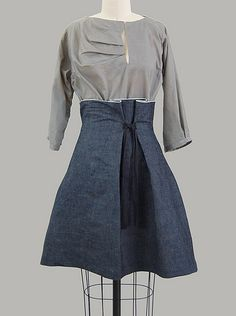 fold neck blouse & denim tie skirt  slightly stiff denim to hold a bell shape, raw selvage edge at waist.