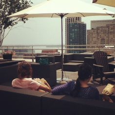 The FSB team eating lunch on our studio's rooftop patio! #SummerLovin
