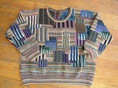 Islamic Stripe Patch Crewneck by Kaffe Fassett