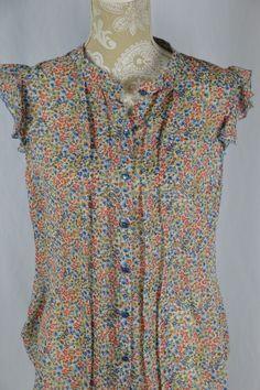 Covington Womens Medium Cap Sleeve Sheer Floral Button Down Ruffle Blouse Top #Covington #KnitTop