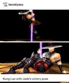 Tanukiyasu Kung Lao With Jade's victory pose - iFunny :) Mortal Kombat Memes, Mortal Kombat 3, Kung Jin, Please Dont Hurt Me, Victory Pose, Mileena, Popular Memes, Laos, Victorious