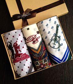 Купить Набор Платочек носовой мужской Фламенко с вышивкой инициалов и рисунок - вышивка, вышивка на заказ
