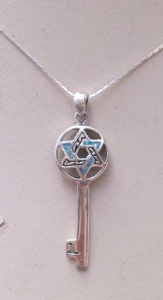Necklace sterling silver key star of David pendant by Bluenoemi