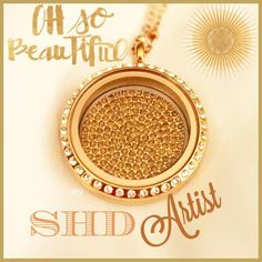 Crystal embellished coin inside a gold locket with Swarovski crystals - so much sparkle!  Complimentary chain included!