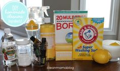Start your own arsenal of homemade cleaners with these ingredients. Not sure what washing soda or castille soapis? Click through for my favorite natural ingredients! Via Clean Mama