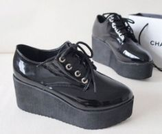 HARAJUKU women pointed toe Creepers platform shoes CREEPER shoes Goth high Platform flat creeper shoes Black PU FREE shipping-inFlats from Shoes on Aliexpress.com