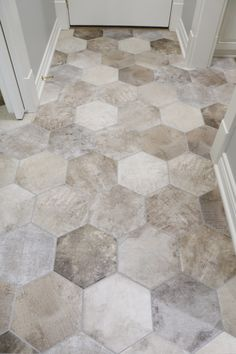 This hexagon tile floor is perfect for any entry wall, bathroom, laundry room, or kitchen! Plus, it is super stylish with many color tones to match an. Washroom Tiles, Wood Bathroom, Laundry In Bathroom, Bathroom Flooring, Kitchen Flooring, Laundry Rooms, Small Bathroom, Bathroom Inspo, Design Bathroom