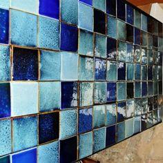 Royce Wood handmade tiles. Beautiful Blues Mix. English Handmade Tiles