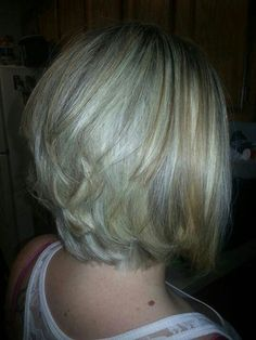 ... | Blonde Highlights, Stacked Bob Hairstyles and Blonde Hairstyles