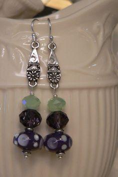Purple earring, green earring, lampwork glass, long earring, glass earring, purple and green, boho earring, dangle earring by sallysbeadsnc on Etsy