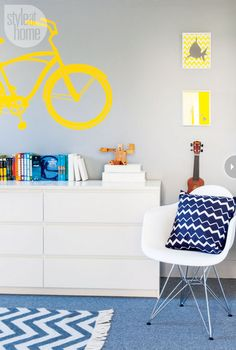 gray/yellow and blue for a boy room