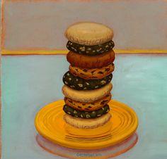 """Cookies"" 2008 by Kent Christensen. Oil on linen 12 x 12 in / 5 x 5 cm. New Gods, Fine Art Gallery, Beautiful Paintings, Food Art, Brownies, Backdrops, Sugar, Oil, Cookies"