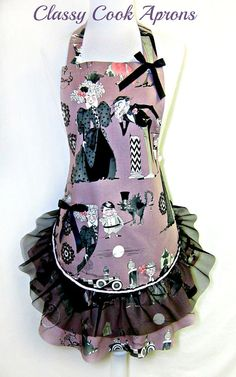 Apron, The GHASTLIES Family Reunion, MAUVE & BLACK, Lace Ruffled Flounce, Pretty Party Hostess Gift, by ClassyCookAprons