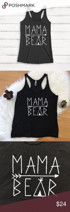 mama bear racerback tank heathered black Worn once. Runs pretty true to size, too big for me and I need to order the next size down :) Tops Tank Tops