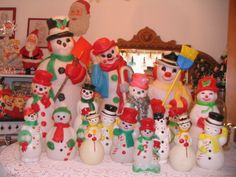 My snowmen blow molds waiting to be put away until next Christmas