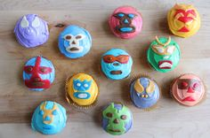 These lucha libre cupcakes are sure to make a splash at your next kids' party. Easily mold, cut, and craft unique shapes for wrestlers' masks out of Airheads candy. Wwe Party, Airheads Candy, 4th Birthday Parties, Birthday Ideas, 10th Birthday, Happy Birthday, Cupcakes, Diy Birthday Decorations, Holidays And Events