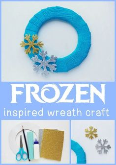 Frozen Inspired Wreath Craft. This Frozen inspired craft is perfect for celebrating Disney's Frozen 2. Includes EASY tutorial and FREE snowflake template. This Frozen wreath is great for Frozen fans and party planning! #Frozen2 #Frozen #FrozenCrafts #DisneyCrafts