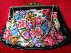 Vintage Petit Point Needlepoint Roses Purse by FancyNancyVintage, $37.00