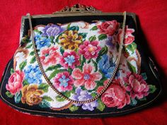 Vintage Petit Point Needlepoint Roses Purse Vienna