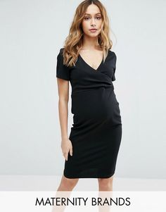 e1f990dbd65 Get this New Look Maternity s tube dress now! Click for more details.  Worldwide shipping. New Look Maternity Wrap Short Sleeve Dress - Black   Maternity ...