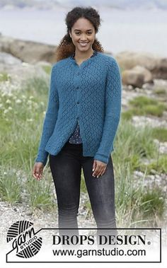 Song of the Sea Cardigan - Knitted jacket with raglan, lace pattern, garter stitch and split in the side, worked top down. Sizes S - XXXL. The piece is worked in DROPS Kid-Silk. - Free pattern by DROPS Design Crochet Hats For Boys, Baby Hats Knitting, Baby Knitting Patterns, Free Knitting, Hat Crochet, Crochet Pattern, Stitch Patterns, Drops Design, Cardigan Pattern