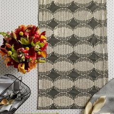 """Mendoza Runner in Slate Size: 16"""" W x 110"""" D by Blissliving Home. $110.00. BL74043 Size: 16"""" W x 110"""" D Features: -Material: 55pct Linen, 45pct cotton.-Matching placemats, napkins and cocktail napkins also available.-Solid reverse.-Linen blend table runner glows with gold metallic sequins and embroidery.-Smallest size works beautifully as a placemat for two. Options: -Available in 19'' W x 60'' D, 16'' W x 90'' D or 16'' W x 110'' D sizes. Color/Finish: -Color: Slate."""