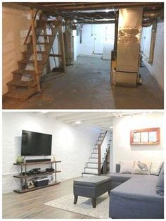 Cozy Chic Basement Reno with Exposed Painted Joists & Wood Tile Floors . Cozy Chic Basement Reno with Exposed Painted Joists & Wood Tile Floors Old Basement, Small Basement Remodel, Basement Layout, Basement Renovations, Basement Ideas, Basement Designs, Rustic Basement, Modern Basement, Basement Makeover