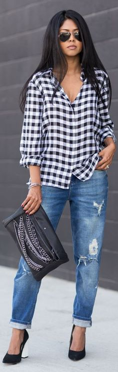 Zara Black And White Gingham Relaxed Button Down by Walk In Wanderland