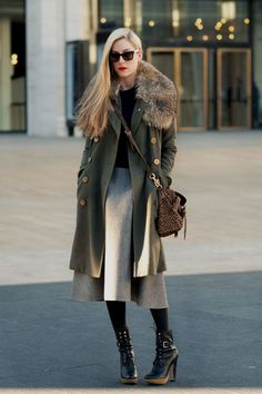 The length of the coat with the skirt is lovely. And those shoes…   a-little-chitchat:    Style crush: Joanna Hillman