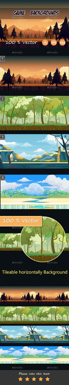 Game Background — Vector EPS #landscapes #game landscape • Available here → https://graphicriver.net/item/game-background/12157975?ref=pxcr